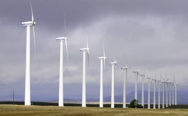 A row of Vestas wind turbines near Pincher Creek, AB, Canada